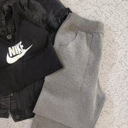 Grey Hem Knit Pants