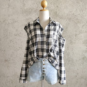 Cold Shoulder Checks Shirt