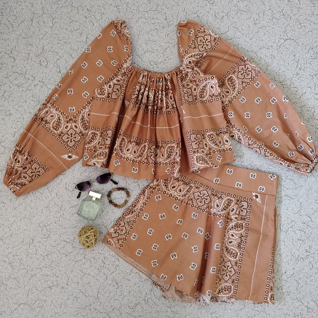 Paisley Print Top & Shorts Co-ord