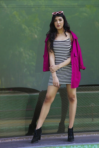 Stripes Casual Shirt Dress - Addery.co.in