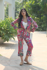 Floral Wrap Blazer Set - Addery.co.in