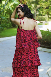 Leopard Pleated Tier Dress - Addery.co.in