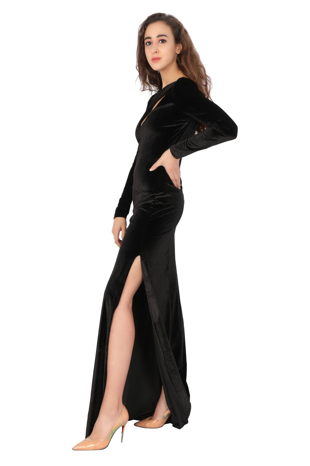 Evening Velvet Gown - Addery.co.in