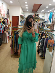 Frill Cold-Shoulder Dress - Addery.co.in