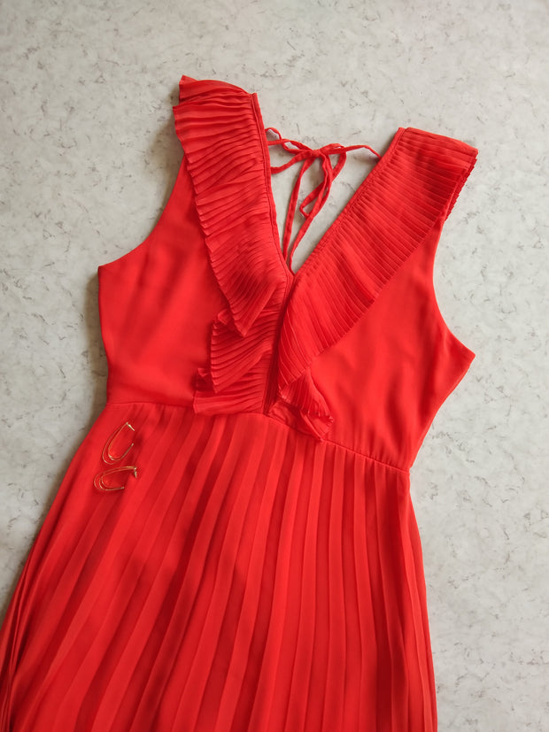 Orange PLEATED Frill Midi DRESS