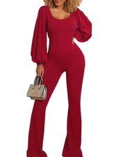 Solid Color Lantern Sleeve Slim Fit Jumpsuit