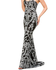 Sexy Off-the- Shoulder Sleeveless Sequin Evening Dress