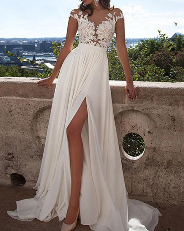 Sexy Lace Split White Sleeveless Evening Dress