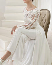 Perspective Long-sleeved Lace Solid Color Jumpsuit