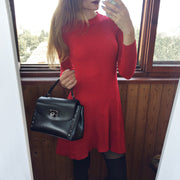 Simple Sexy Round Neck Slim-Fit Pleated Hem Sweater Dress