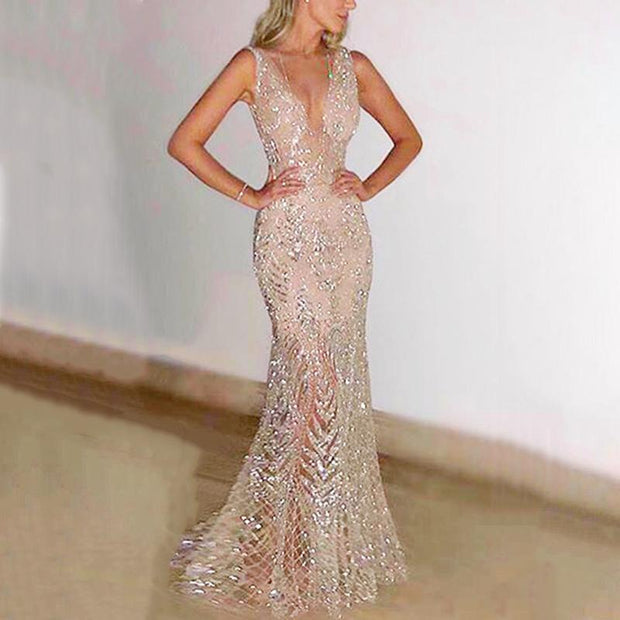 Sexy Sleeveless Deep V Dress Sequin Evening Dress