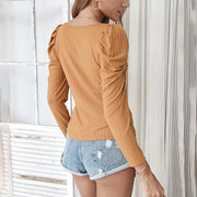 Casual Fashion Solid Color Classic Square Neck Knitted Thin Long-Sleeved T-Shirt