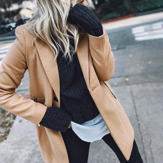 Simple Casual Fashion Solid Color Zipper Pocket Woolen Jacket