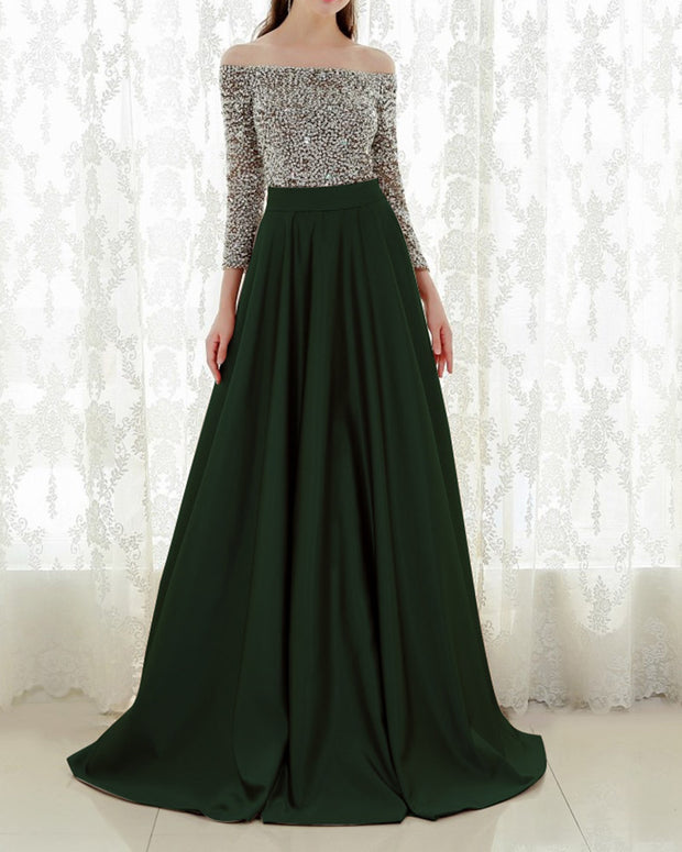 Sequin Sexy Off Shoulder Evening Dress