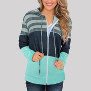 Casual Color Matching Hooded Long-sleeved Hoodie