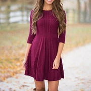 Simple And Fashionable Solid Color Round Neck Long Sleeve Sweater Dress