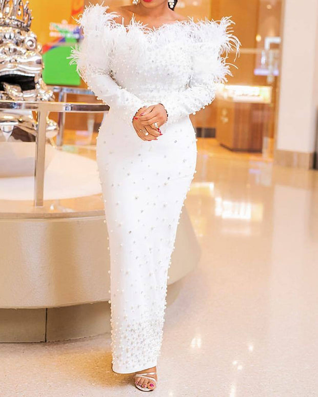 Solid Color Feather Long Sleeve Slim Evening Dress