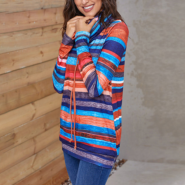 Fashion Casual Pullover Multicolor Striped Pocket Long-sleeved Hoodie