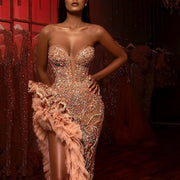 Retro Sexy Tube Top Asymmetry Evening Dress