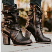 Knight Boots With Retro Back Strap