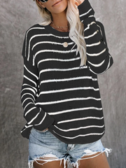Casual Simple Round Neck Striped Long Sleeve Sweater
