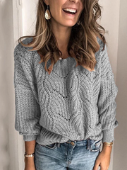 Casual Simple Pure Color Mohair Pullover Cutout Sweater