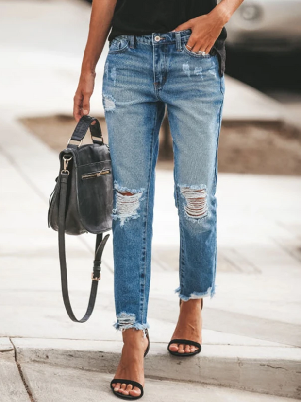 Fashionable Simple Ripped Tassel Slim Jeans