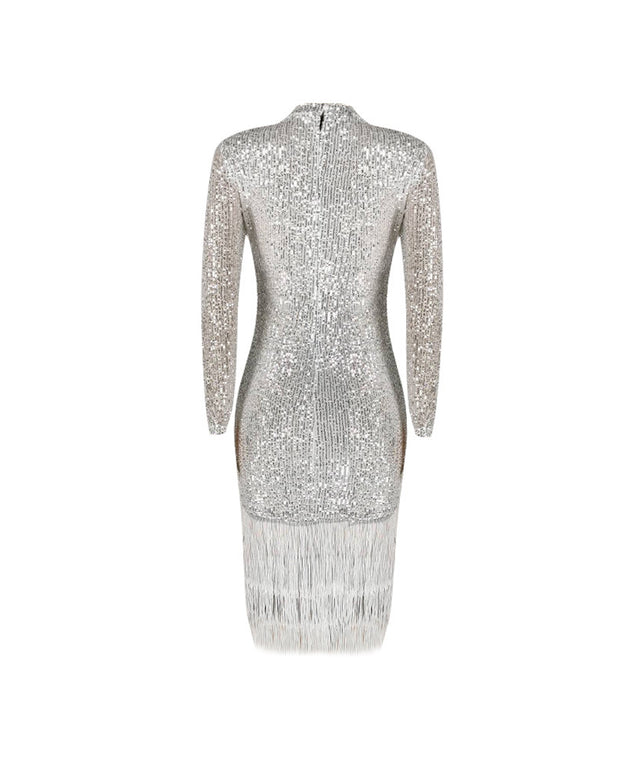 Sequined Long Sleeve Tassel Evening Dress