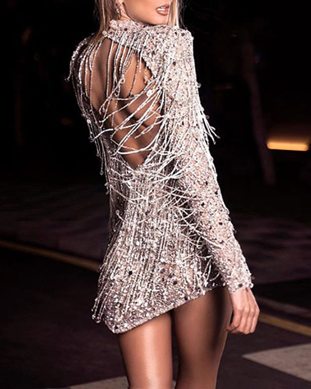 Sequin Sexy Long Sleeve Mini Evening Dress
