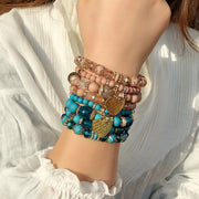 Bohemian Heart-Shaped Four-Layer Crystal Bracelet