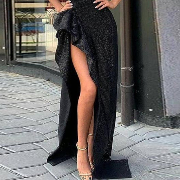 Sequin Slanted Shoulder Slit Maxi Evening Dress