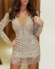 Sequined Long-sleeved Slim Mini Evening Dress