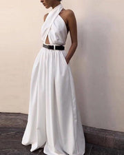 Sexy White Sleeveless Backless Jumpsuit
