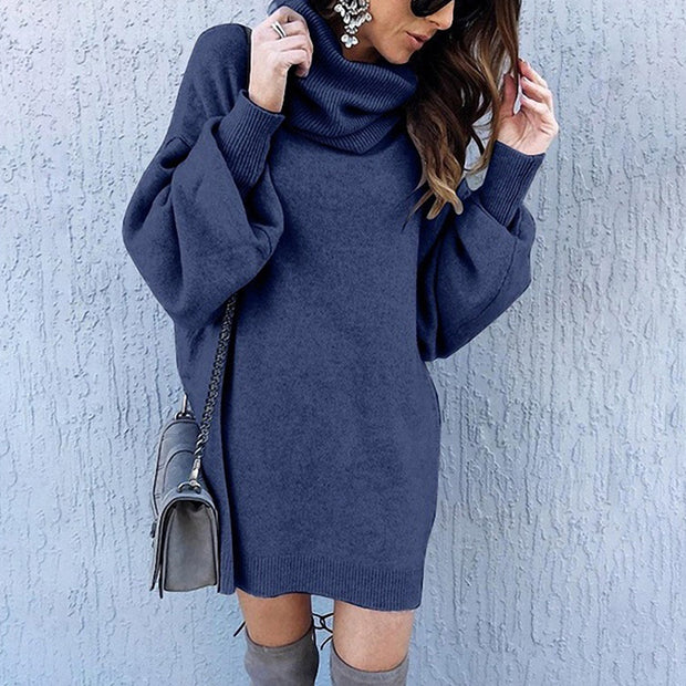 Simple Fashion Casual Loose Long Turtleneck Sweater Dress
