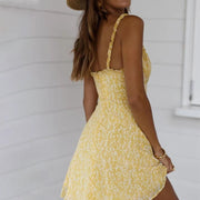 Fashion Sexy Backless Sling Print Small Floral Dress