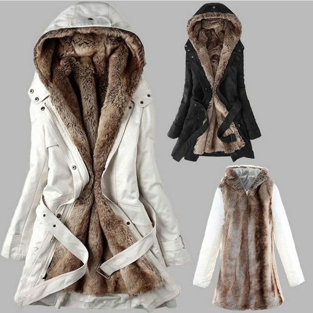 Slim-fit Warm Hooded Coat With Zipper