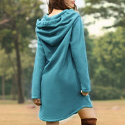 Casual Loose Solid Color Pocket Long-sleeved Hoodie
