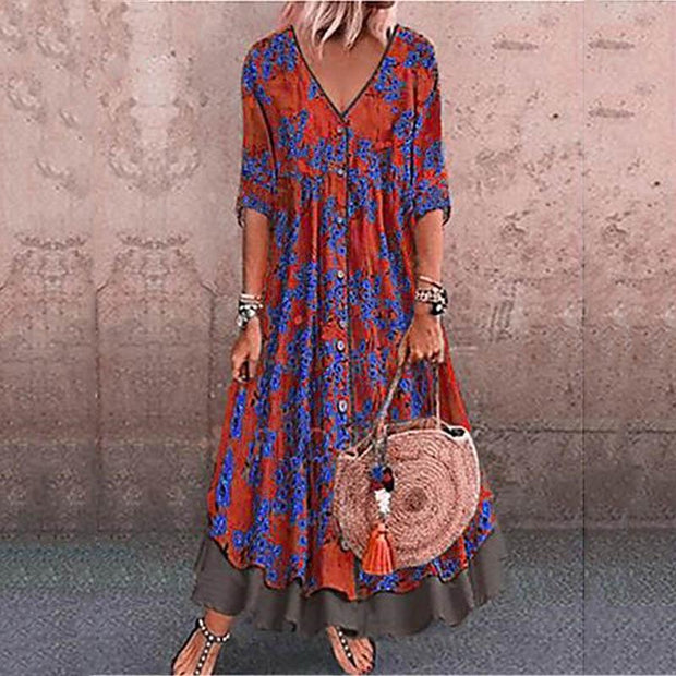 Vintage Printed Double-Layer Large Size Dress