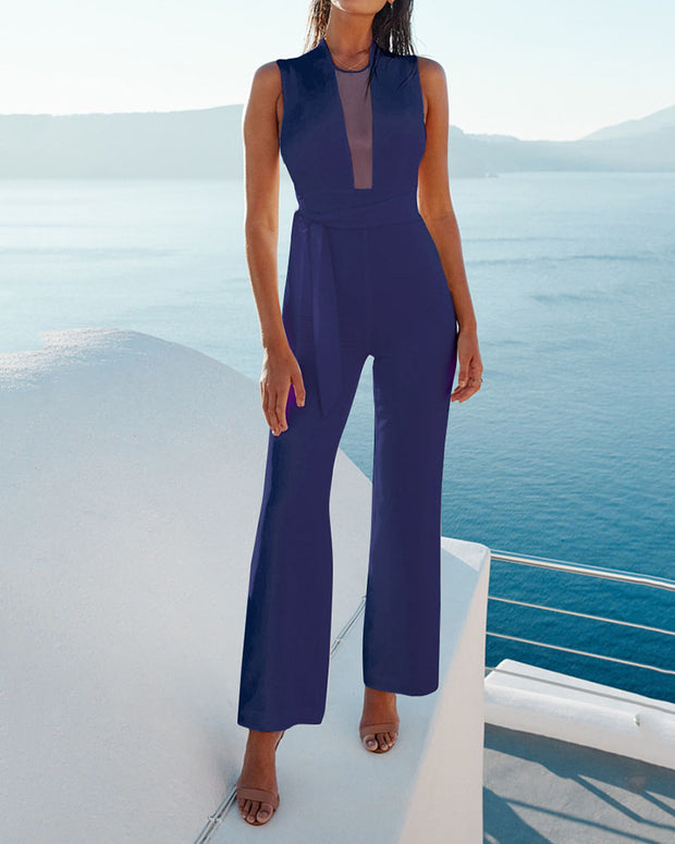 Casual Sleeveless V-neck Jumpsuit