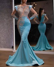 Fashion Sequined Long Sleeve Bodycon Evening Gown