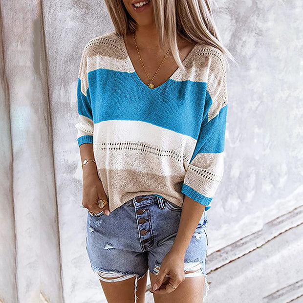Fashion Casual V-Neck Striped Color-Blocking Hollow Sweater