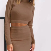 Autumn And Winter Solid Color Long-Sleeved Fashion Hip Short Skirt Two-Piece Suit