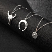 Moon Bull Head Pendant Necklace