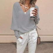 Fashion Solid Color Pit Strip V-Neck Down Sleeve Base Sweater