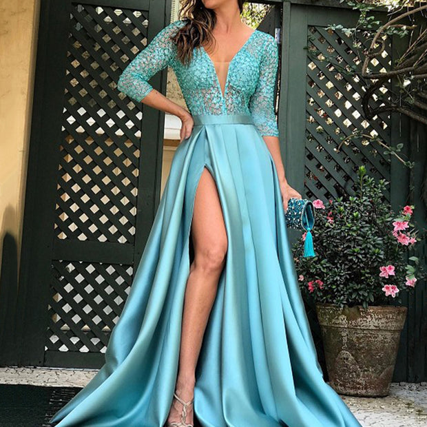 Sexy Medium Sleeves Split Evening Dress