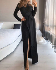 Solid Color Split Maxi Casual Party Dress