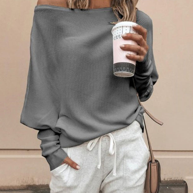Sexy Off-shoulder Long-sleeved Solid Color T-shirt