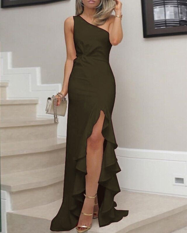 Sleeveless Slit Ruffled Evening Gown