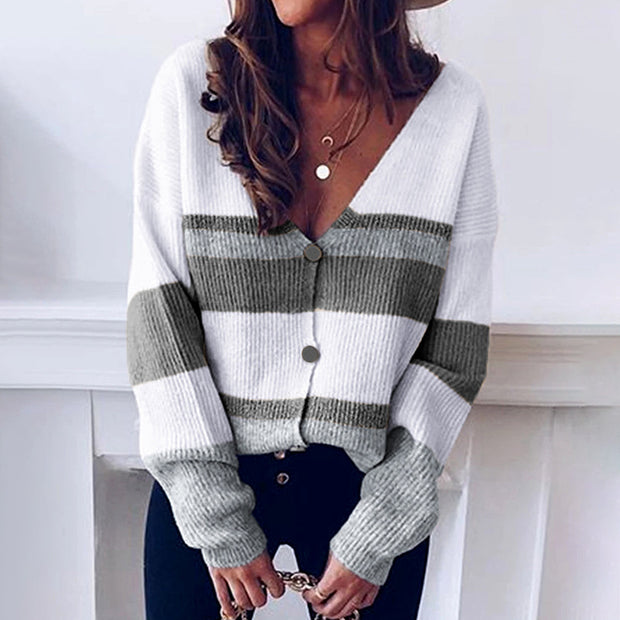 Simple Casual V-Neck Button Stripe Stitching Sweater Cardigan