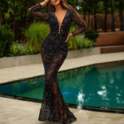Fashion Sexy Hot Drilling Long Sleeve V-neck Black Evening Dress